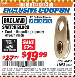 Harbor Freight ITC Coupon SNATCH BLOCK Lot No. 62435/61673 Expired: 8/31/19 - $19.99