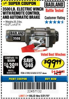 Harbor Freight Coupon 3500 LB. ELECTRIC WINCH WITH REMOTE CONTROL AND AUTOMATIC BRAKE Lot No. 61383/61604/61257 Expired: 5/31/18 - $99.99