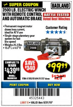 Harbor Freight Coupon 3500 LB. ELECTRIC WINCH WITH REMOTE CONTROL AND AUTOMATIC BRAKE Lot No. 61383/61604/61257 Expired: 8/31/18 - $99.99