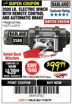 Harbor Freight Coupon 3500 LB. ELECTRIC WINCH WITH REMOTE CONTROL AND AUTOMATIC BRAKE Lot No. 61383/61604/61257 Expired: 11/30/18 - $99.99