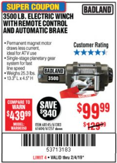 Harbor Freight Coupon 3500 LB. ELECTRIC WINCH WITH REMOTE CONTROL AND AUTOMATIC BRAKE Lot No. 61383/61604/61257 Expired: 2/4/19 - $99.99