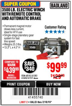 Harbor Freight Coupon 3500 LB. ELECTRIC WINCH WITH REMOTE CONTROL AND AUTOMATIC BRAKE Lot No. 61383/61604/61257 Expired: 2/18/19 - $99.99
