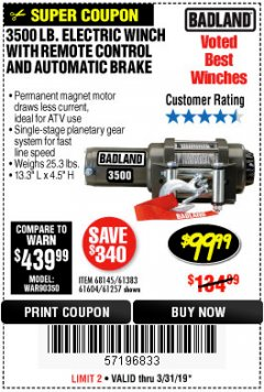 Harbor Freight Coupon 3500 LB. ELECTRIC WINCH WITH REMOTE CONTROL AND AUTOMATIC BRAKE Lot No. 61383/61604/61257 Expired: 3/31/19 - $99.99