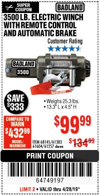 Harbor Freight Coupon 3500 LB. ELECTRIC WINCH WITH REMOTE CONTROL AND AUTOMATIC BRAKE Lot No. 61383/61604/61257 Expired: 4/28/19 - $99.99
