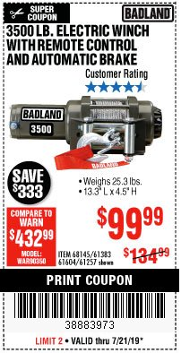 Harbor Freight Coupon 3500 LB. ELECTRIC WINCH WITH REMOTE CONTROL AND AUTOMATIC BRAKE Lot No. 61383/61604/61257 Expired: 7/21/19 - $99.99