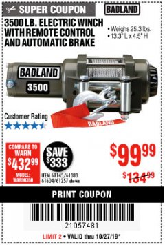 Harbor Freight Coupon 3500 LB. ELECTRIC WINCH WITH REMOTE CONTROL AND AUTOMATIC BRAKE Lot No. 61383/61604/61257 Expired: 10/27/19 - $99.99