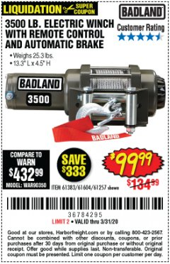 Harbor Freight Coupon 3500 LB. ELECTRIC WINCH WITH REMOTE CONTROL AND AUTOMATIC BRAKE Lot No. 61383/61604/61257 Expired: 3/31/20 - $99.99