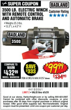Harbor Freight Coupon 3500 LB. ELECTRIC WINCH WITH REMOTE CONTROL AND AUTOMATIC BRAKE Lot No. 61383/61604/61257 Expired: 4/5/20 - $99.99