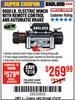 Harbor Freight Coupon 9000 LB. ELECTRIC WINCH WITH REMOTE CONTROL AND AUTOMATIC BRAKE Lot No. 61346/61325/62596/62278/68143 Expired: 5/14/18 - $269.99