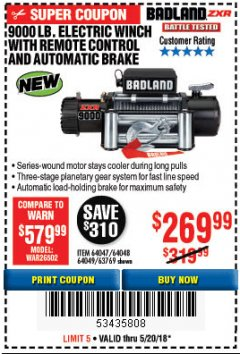 Harbor Freight Coupon 9000 LB. ELECTRIC WINCH WITH REMOTE CONTROL AND AUTOMATIC BRAKE Lot No. 61346/61325/62596/62278/68143 Expired: 5/20/18 - $269.99