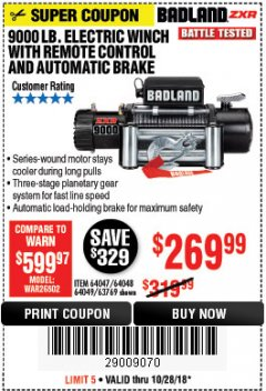 Harbor Freight Coupon 9000 LB. ELECTRIC WINCH WITH REMOTE CONTROL AND AUTOMATIC BRAKE Lot No. 61346/61325/62596/62278/68143 Expired: 10/28/18 - $269.99