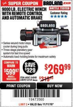 Harbor Freight Coupon 9000 LB. ELECTRIC WINCH WITH REMOTE CONTROL AND AUTOMATIC BRAKE Lot No. 61346/61325/62596/62278/68143 Expired: 11/11/18 - $269.99