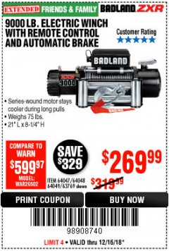 Harbor Freight Coupon 9000 LB. ELECTRIC WINCH WITH REMOTE CONTROL AND AUTOMATIC BRAKE Lot No. 61346/61325/62596/62278/68143 Expired: 12/16/18 - $269.99