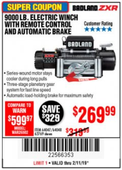 Harbor Freight Coupon 9000 LB. ELECTRIC WINCH WITH REMOTE CONTROL AND AUTOMATIC BRAKE Lot No. 61346/61325/62596/62278/68143 Expired: 2/11/19 - $269.99