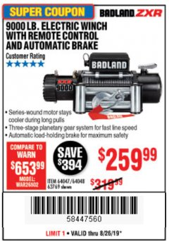 Harbor Freight Coupon 9000 LB. ELECTRIC WINCH WITH REMOTE CONTROL AND AUTOMATIC BRAKE Lot No. 61346/61325/62596/62278/68143 Expired: 8/26/19 - $259.99