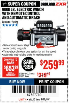Harbor Freight Coupon 9000 LB. ELECTRIC WINCH WITH REMOTE CONTROL AND AUTOMATIC BRAKE Lot No. 61346/61325/62596/62278/68143 Expired: 9/22/19 - $259.99