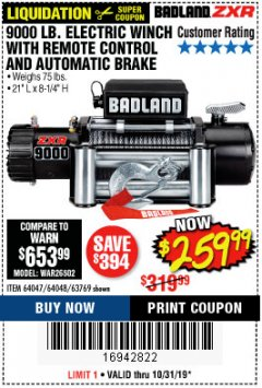 Harbor Freight Coupon 9000 LB. ELECTRIC WINCH WITH REMOTE CONTROL AND AUTOMATIC BRAKE Lot No. 61346/61325/62596/62278/68143 Expired: 10/31/19 - $259.99