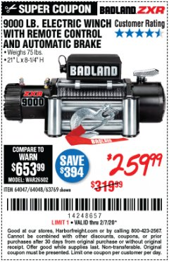 Harbor Freight Coupon 9000 LB. ELECTRIC WINCH WITH REMOTE CONTROL AND AUTOMATIC BRAKE Lot No. 61346/61325/62596/62278/68143 Expired: 2/7/20 - $259.99