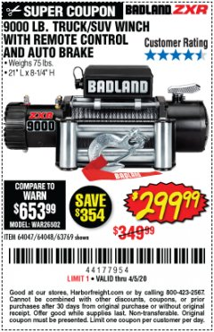 Harbor Freight Coupon 9000 LB. ELECTRIC WINCH WITH REMOTE CONTROL AND AUTOMATIC BRAKE Lot No. 61346/61325/62596/62278/68143 Expired: 6/30/20 - $299.99
