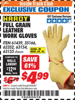 Harbor Freight ITC Coupon FULL GRAIN LEATHER WORK GLOVES - LARGE Lot No. 35166/61459/62352 Dates Valid: 12/31/69 - 6/30/20 - $4.99