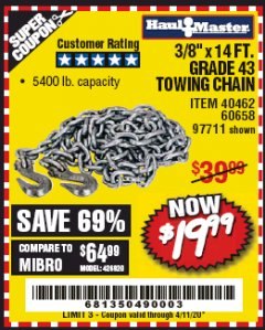 "Harbor Freight Coupon 3/8"" x 14 FT. GRADE 43 TOWING CHAIN Lot No. 97711/60658 EXPIRES: 6/30/20 - $19.99"