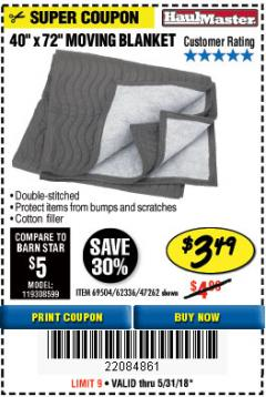 "Harbor Freight Coupon 40"" x 72"" MOVER'S BLANKET Lot No. 47262/69504/62336 Expired: 5/31/18 - $3.49"