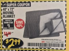"Harbor Freight Coupon 40"" x 72"" MOVER'S BLANKET Lot No. 47262/69504/62336 Expired: 6/30/18 - $2.99"