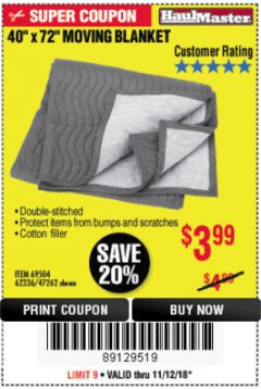 "Harbor Freight Coupon 40"" x 72"" MOVER'S BLANKET Lot No. 47262/69504/62336 Expired: 11/18/18 - $3.99"