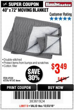 "Harbor Freight Coupon 40"" x 72"" MOVER'S BLANKET Lot No. 47262/69504/62336 Expired: 12/23/18 - $3.49"