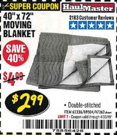 "Harbor Freight Coupon 40"" x 72"" MOVER'S BLANKET Lot No. 47262/69504/62336 Expired: 4/30/19 - $2.99"