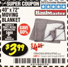 "Harbor Freight Coupon 40"" x 72"" MOVER'S BLANKET Lot No. 47262/69504/62336 Expired: 6/30/19 - $3.99"