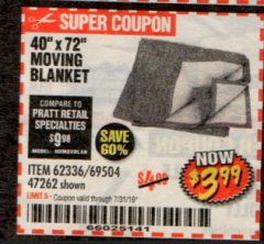 "Harbor Freight Coupon 40"" x 72"" MOVER'S BLANKET Lot No. 47262/69504/62336 Expired: 7/31/19 - $3.99"