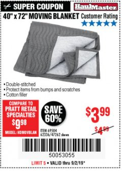 "Harbor Freight Coupon 40"" x 72"" MOVER'S BLANKET Lot No. 47262/69504/62336 Expired: 9/2/19 - $3.99"