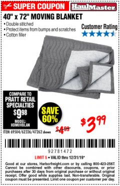 "Harbor Freight Coupon 40"" x 72"" MOVER'S BLANKET Lot No. 47262/69504/62336 Expired: 12/31/19 - $3.99"