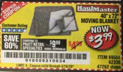 "Harbor Freight Coupon 40"" x 72"" MOVER'S BLANKET Lot No. 47262/69504/62336 Valid Thru: 4/18/20 - $3.99"