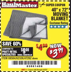 "Harbor Freight Coupon 40"" x 72"" MOVER'S BLANKET Lot No. 47262/69504/62336 Expired: 4/4/20 - $3.99"