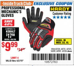 Harbor Freight ITC Coupon PROFESSIONAL MECHANIC'S GLOVES Lot No. 62524/68307/68308/62525/68309/62526 Expired: 4/2/19 - $9.99