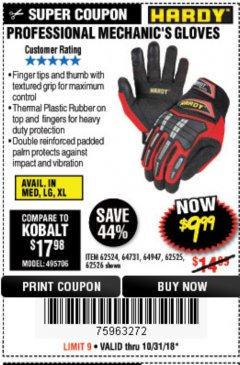 Harbor Freight Coupon PROFESSIONAL MECHANIC'S GLOVES Lot No. 62524/68307/68308/62525/68309/62526 Expired: 10/31/18 - $9.99