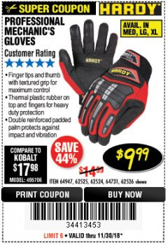 Harbor Freight Coupon PROFESSIONAL MECHANIC'S GLOVES Lot No. 62524/68307/68308/62525/68309/62526 Expired: 11/30/18 - $9.99