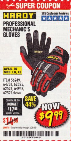 Harbor Freight Coupon PROFESSIONAL MECHANIC'S GLOVES Lot No. 62524/68307/68308/62525/68309/62526 Expired: 2/28/19 - $9.99