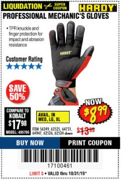 Harbor Freight Coupon PROFESSIONAL MECHANIC'S GLOVES Lot No. 62524/68307/68308/62525/68309/62526 Expired: 10/31/19 - $8.99
