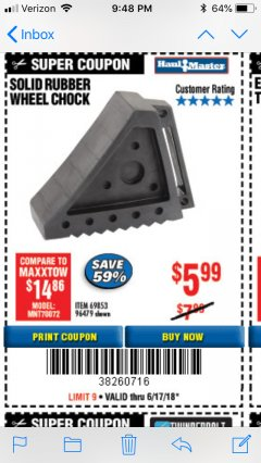 Harbor Freight Coupon SOLID RUBBER WHEEL CHOCK Lot No. 69326/69853/56891/96479 Expired: 6/17/18 - $5.99