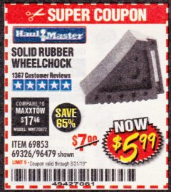 Harbor Freight Coupon SOLID RUBBER WHEEL CHOCK Lot No. 69326/69853/56891/96479 Expired: 8/31/19 - $5.99