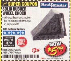 Harbor Freight Coupon SOLID RUBBER WHEEL CHOCK Lot No. 69326/69853/56891/96479 Expired: 11/30/19 - $5.99