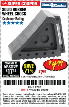 Harbor Freight Coupon SOLID RUBBER WHEEL CHOCK Lot No. 69326/69853/56891/96479 Expired: 2/29/20 - $4.99