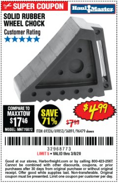 Harbor Freight Coupon SOLID RUBBER WHEEL CHOCK Lot No. 69326/69853/56891/96479 Expired: 2/8/20 - $4.99