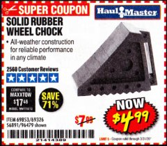 Harbor Freight Coupon SOLID RUBBER WHEEL CHOCK Lot No. 69326/69853/56891/96479 Expired: 3/31/20 - $4.99