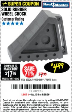Harbor Freight Coupon SOLID RUBBER WHEEL CHOCK Lot No. 69326/69853/56891/96479 Expired: 6/30/20 - $4.99