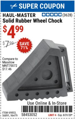 Harbor Freight Coupon SOLID RUBBER WHEEL CHOCK Lot No. 69326/69853/56891/96479 Expired: 8/31/20 - $4.99