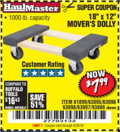 "Harbor Freight Coupon 18"" X 12"" HARDWOOD MOVER'S DOLLY Lot No. 93888/60497/61899/62399/63095/63096/63097/63098 Expired: 8/20/18 - $7.99"